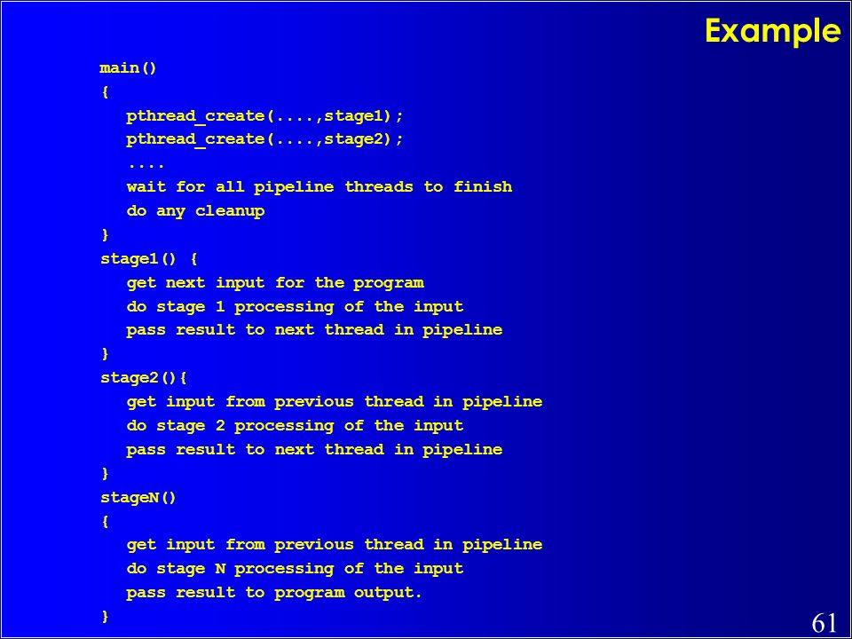 Example main() { pthread_create(....,stage1);