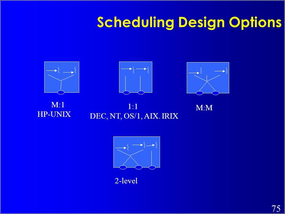Scheduling Design Options