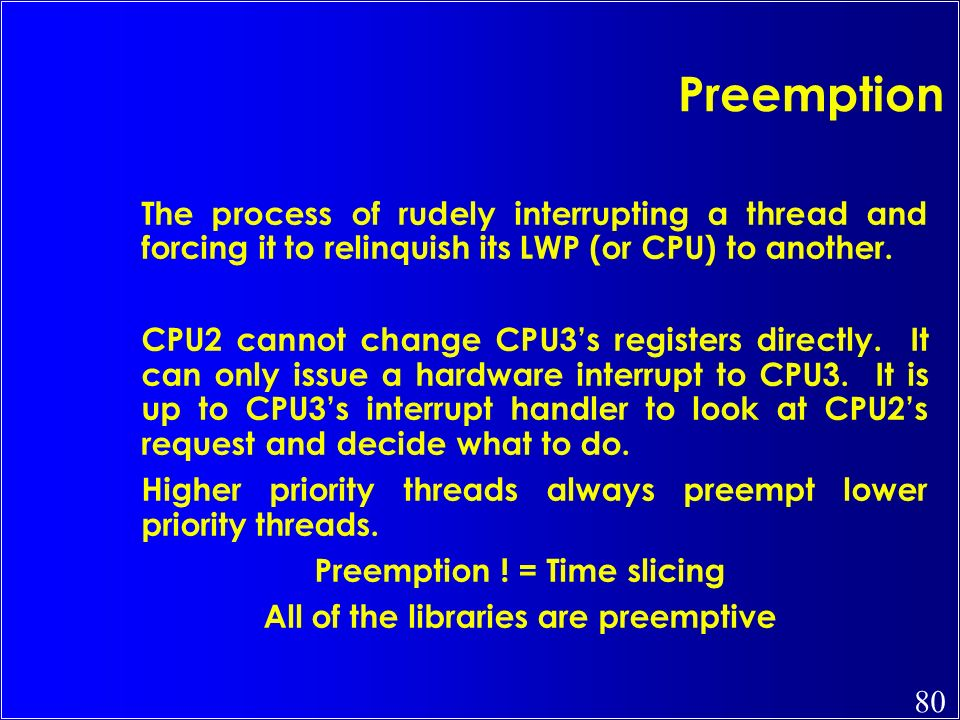 Preemption ! = Time slicing All of the libraries are preemptive