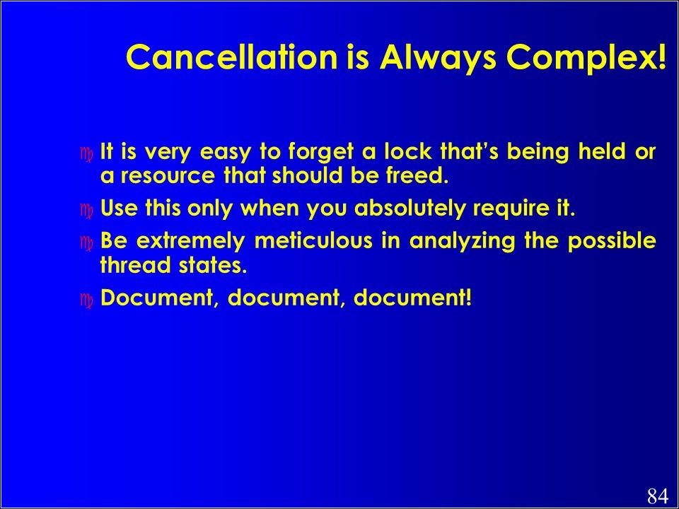 Cancellation is Always Complex!