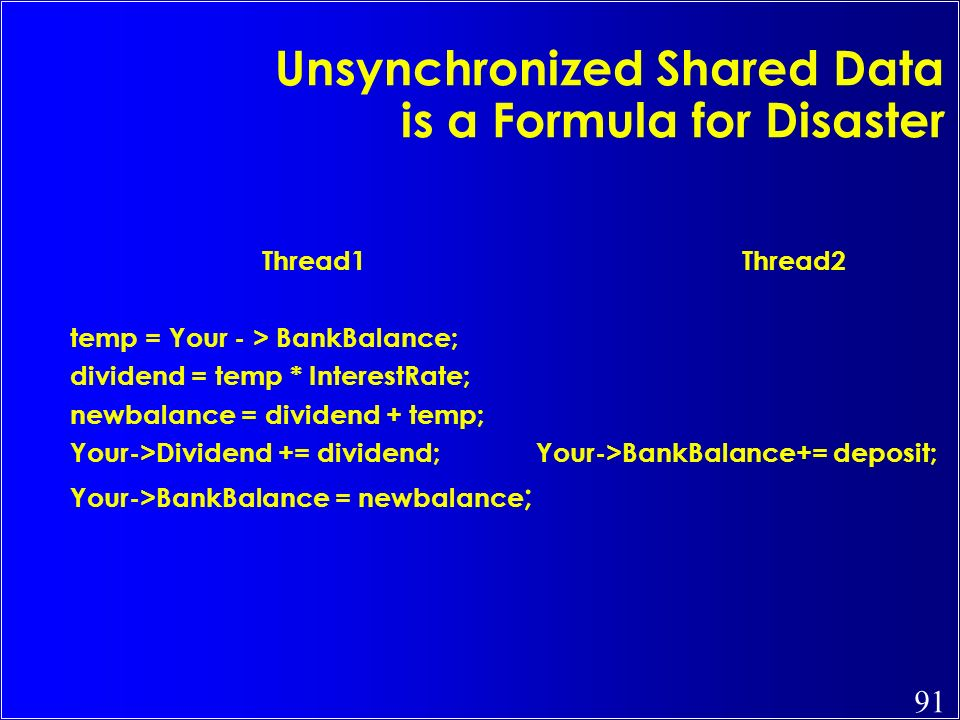Unsynchronized Shared Data is a Formula for Disaster