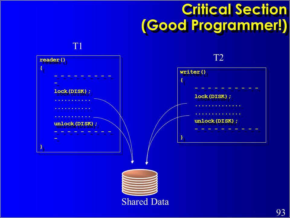 Critical Section (Good Programmer!)