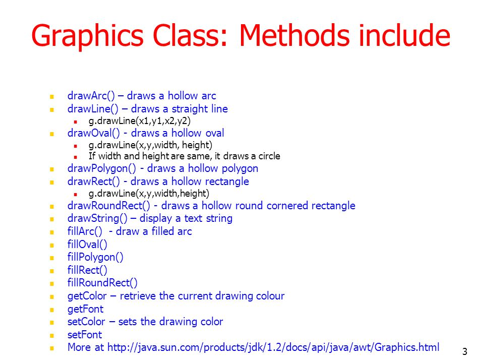 Graphics Class: Methods include
