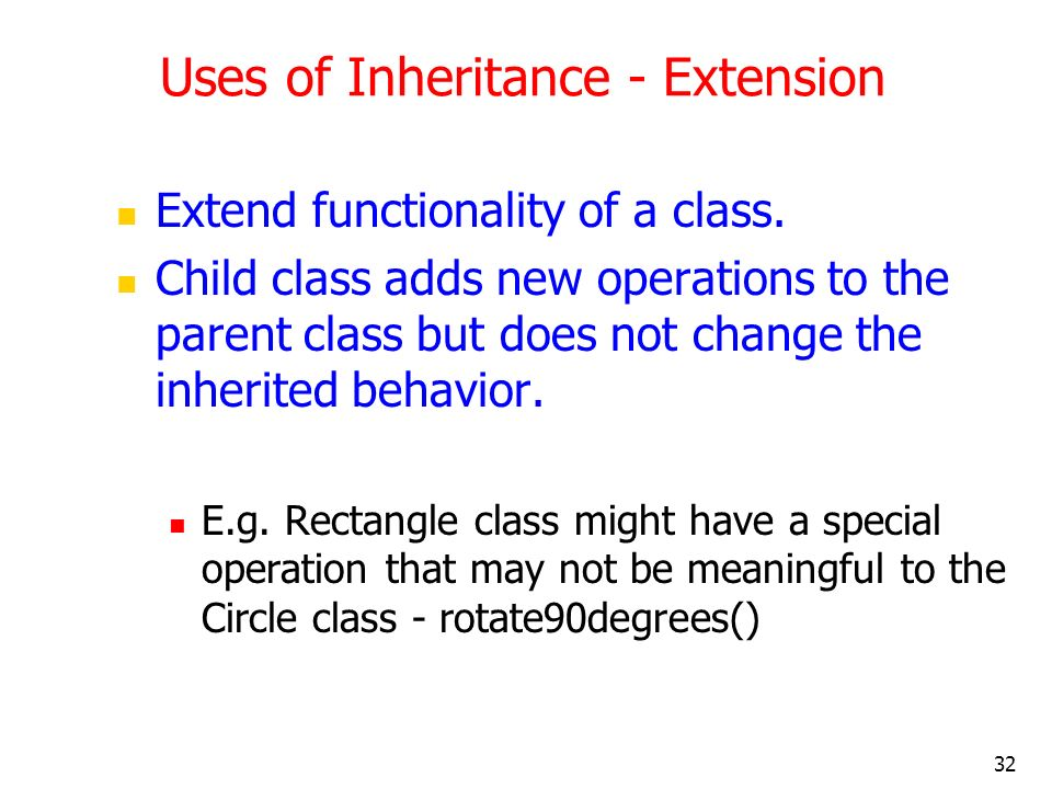 Uses of Inheritance - Extension
