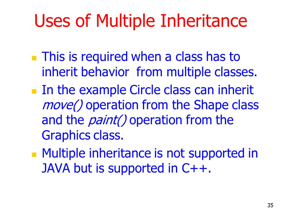 Uses of Multiple Inheritance
