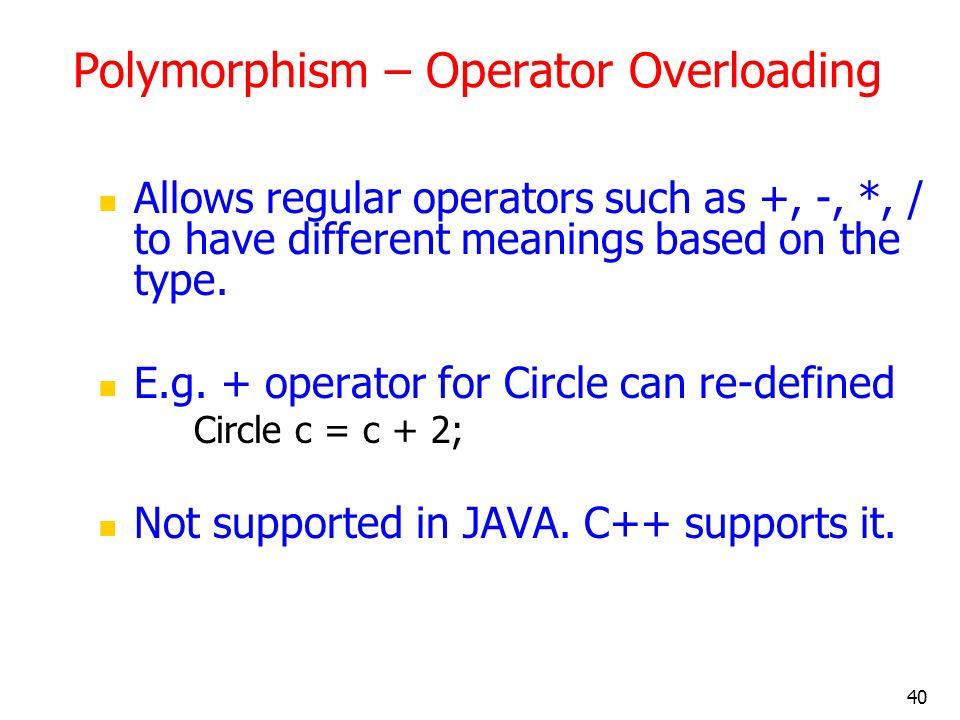 Polymorphism – Operator Overloading