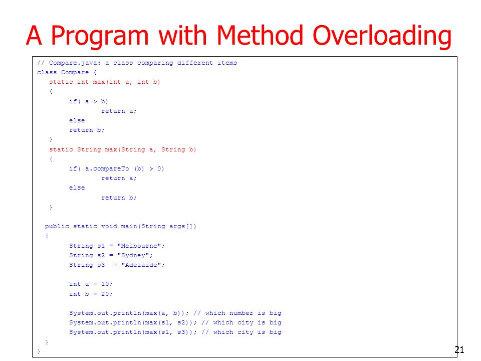A Program with Method Overloading