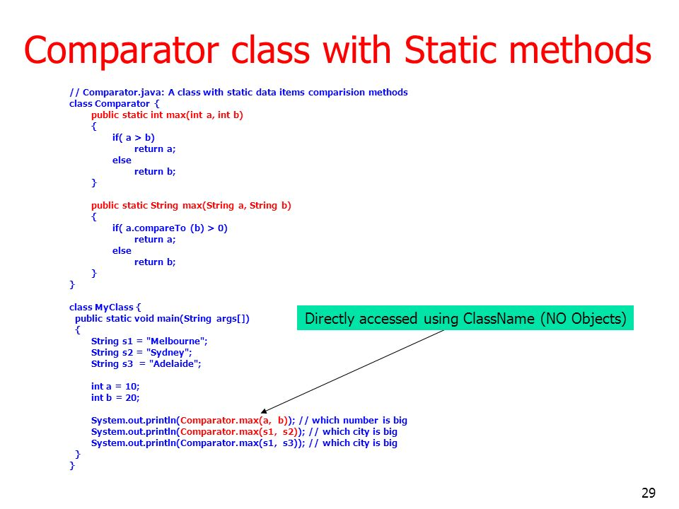 Comparator class with Static methods