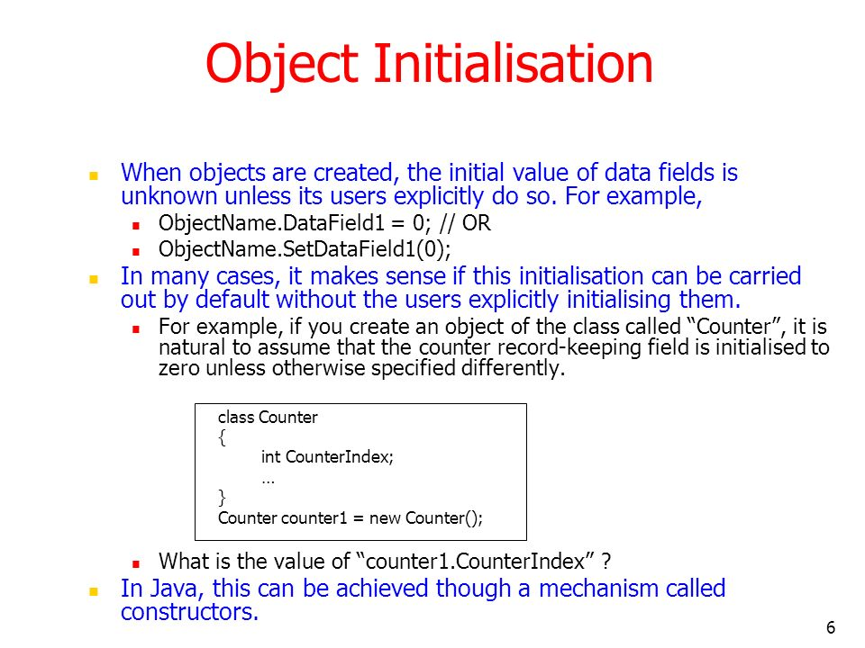 Object Initialisation