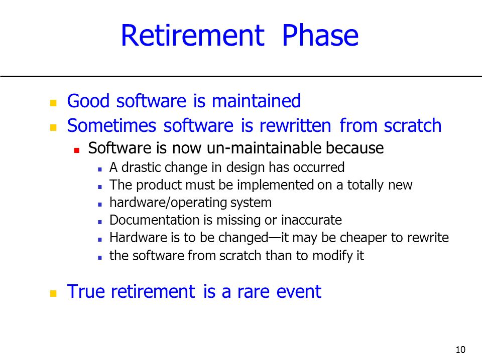 Retirement Phase Good software is maintained