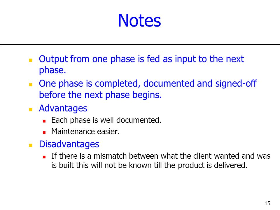 Notes Output from one phase is fed as input to the next phase.