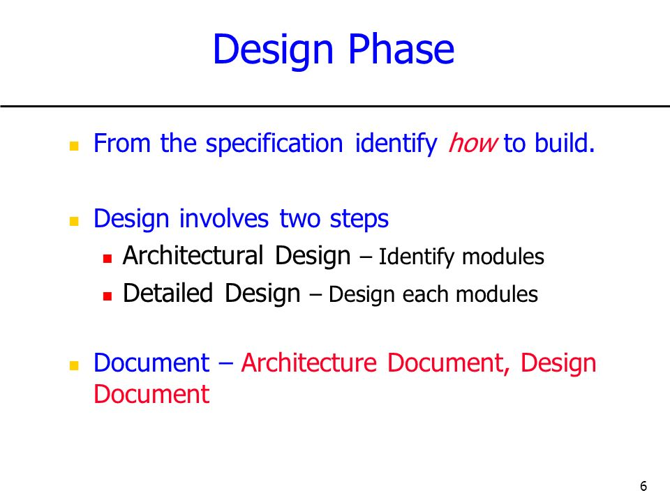 Design Phase From the specification identify how to build.