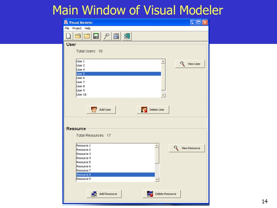 Main Window of Visual Modeler