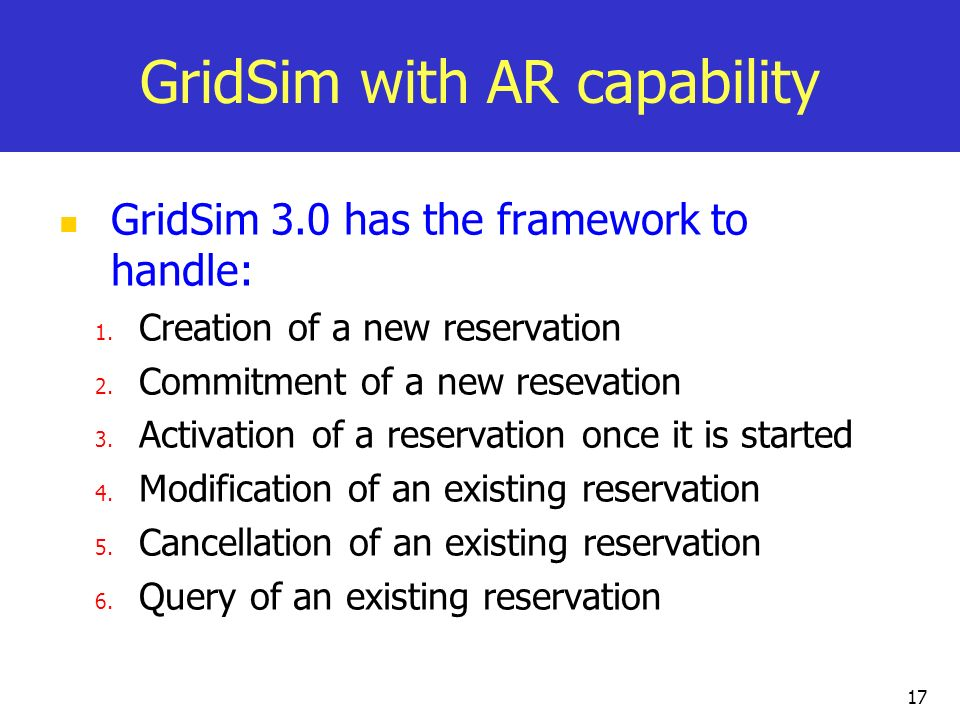 GridSim with AR capability