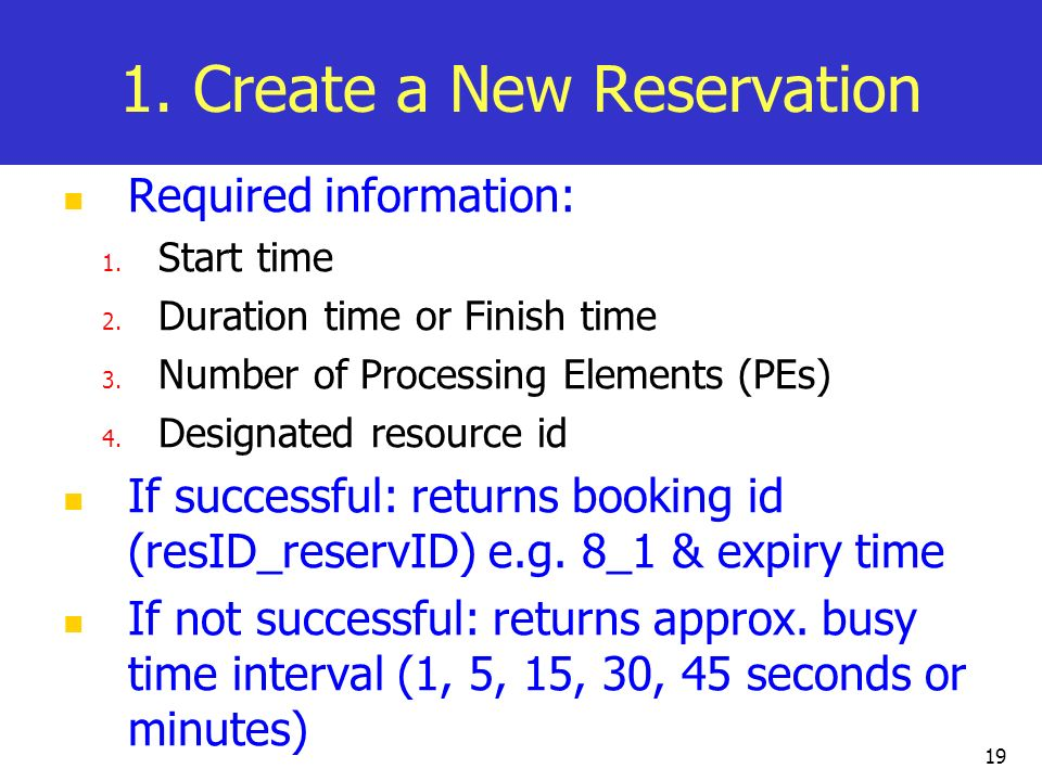 1. Create a New Reservation