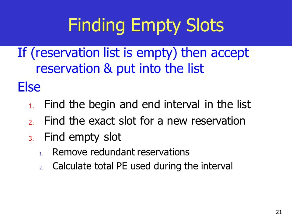 Finding Empty Slots If (reservation list is empty) then accept reservation & put into the list. Else.