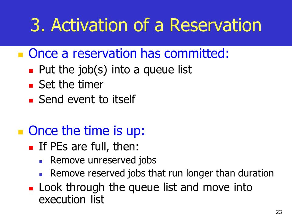 3. Activation of a Reservation