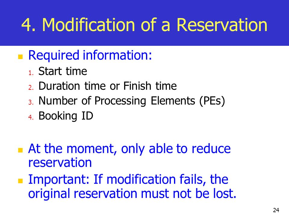 4. Modification of a Reservation