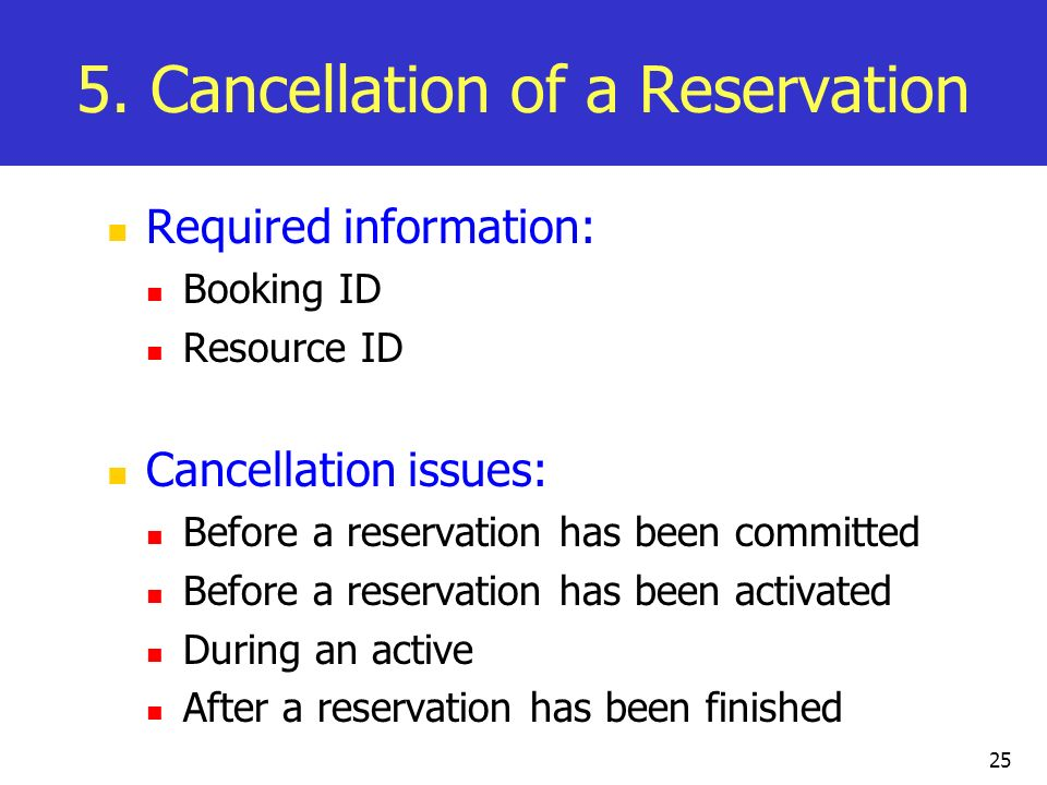 5. Cancellation of a Reservation