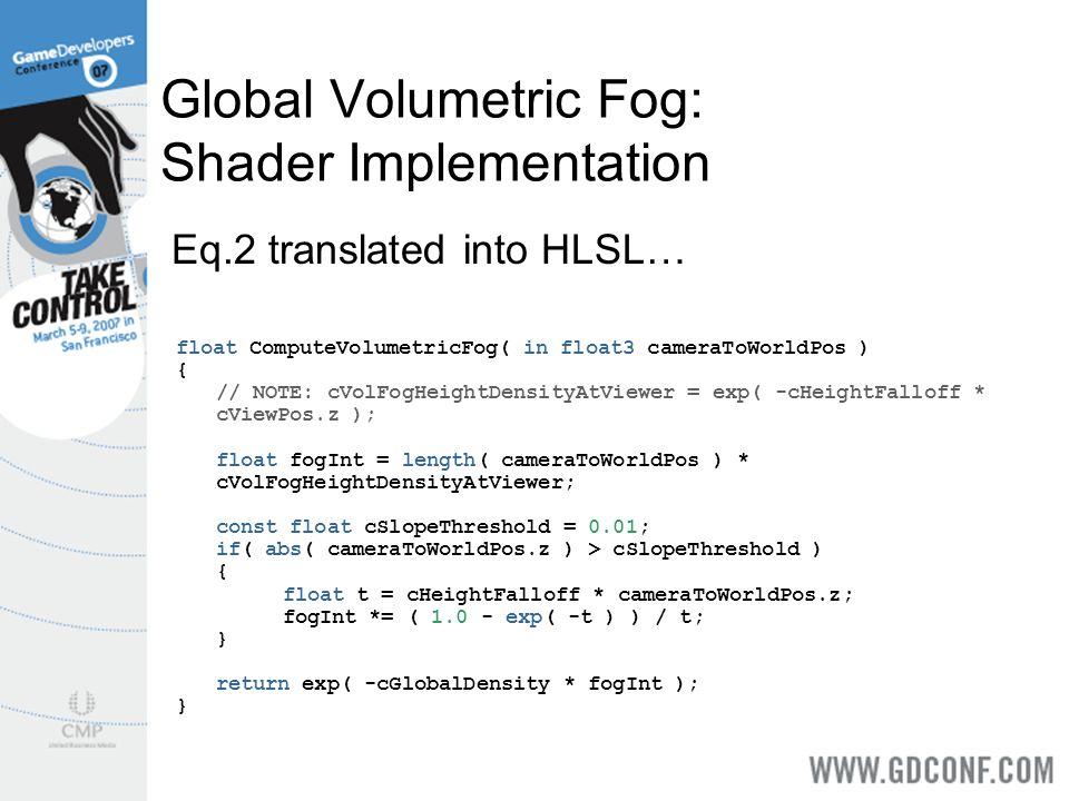 Global Volumetric Fog: Shader Implementation