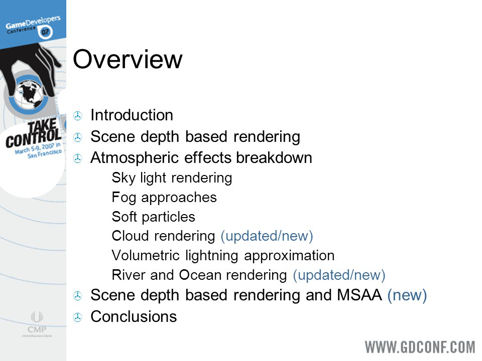 Overview Introduction Scene depth based rendering