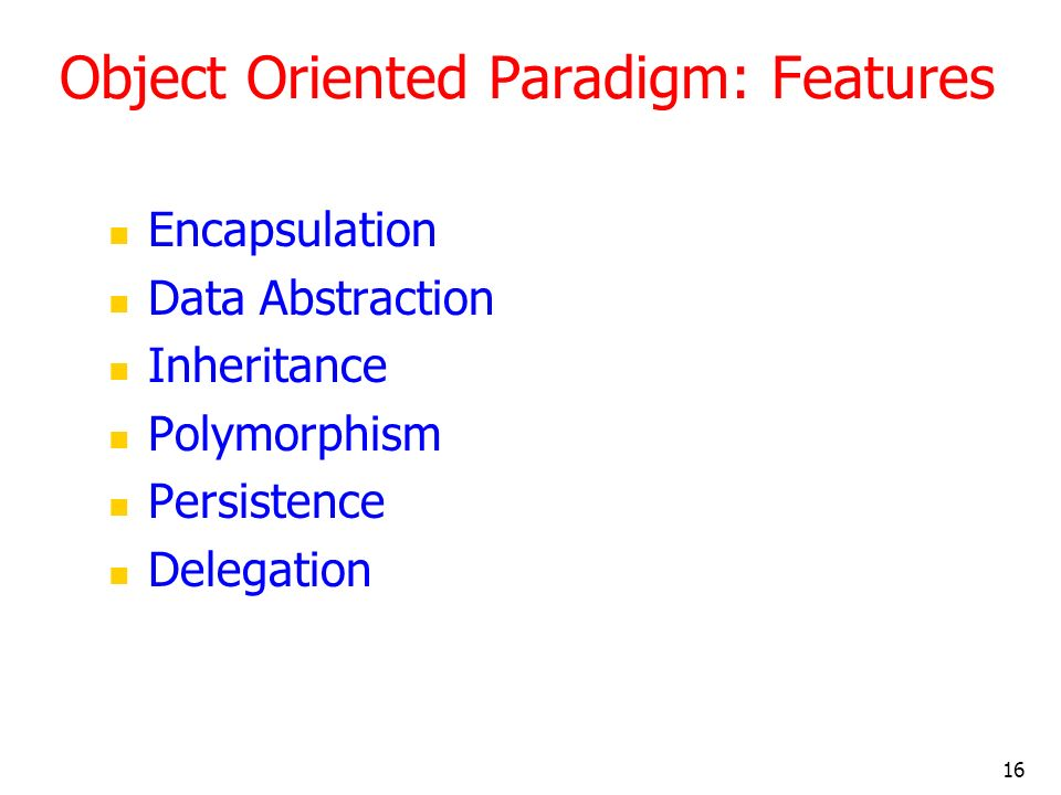 Object Oriented Paradigm: Features