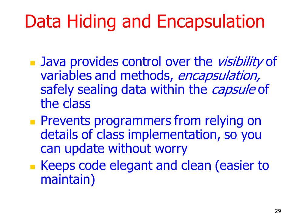 Data Hiding and Encapsulation