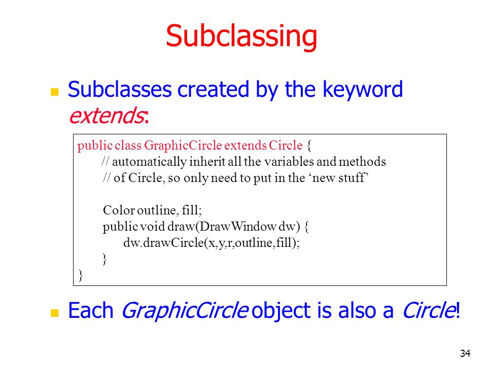 Subclassing Subclasses created by the keyword extends: