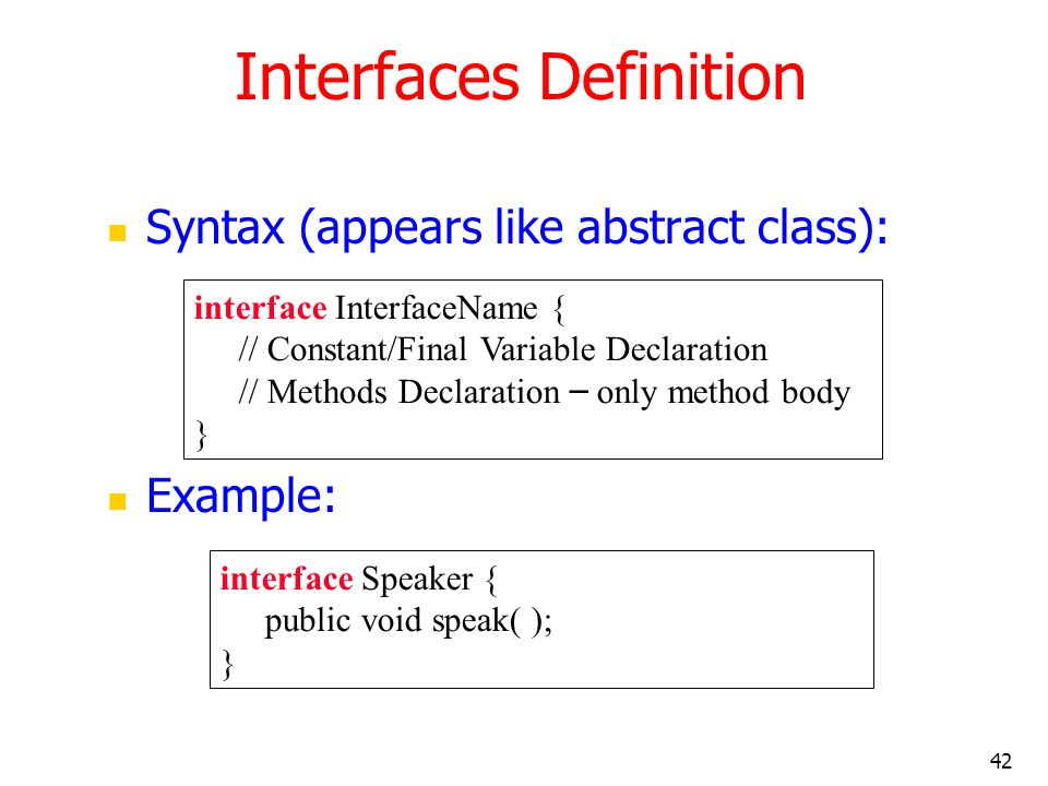 Interfaces Definition