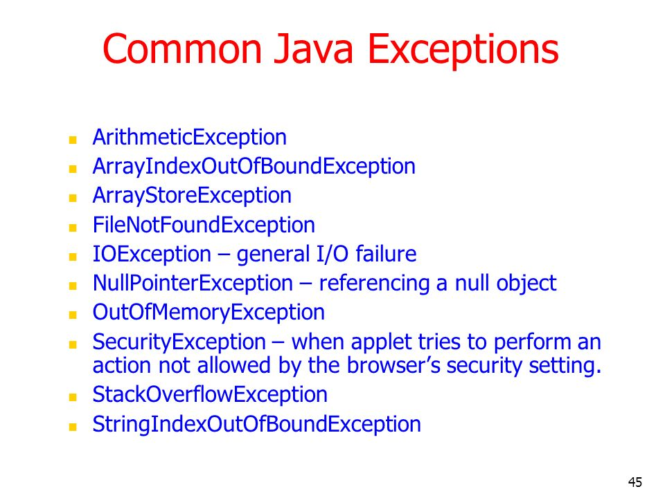 Common Java Exceptions