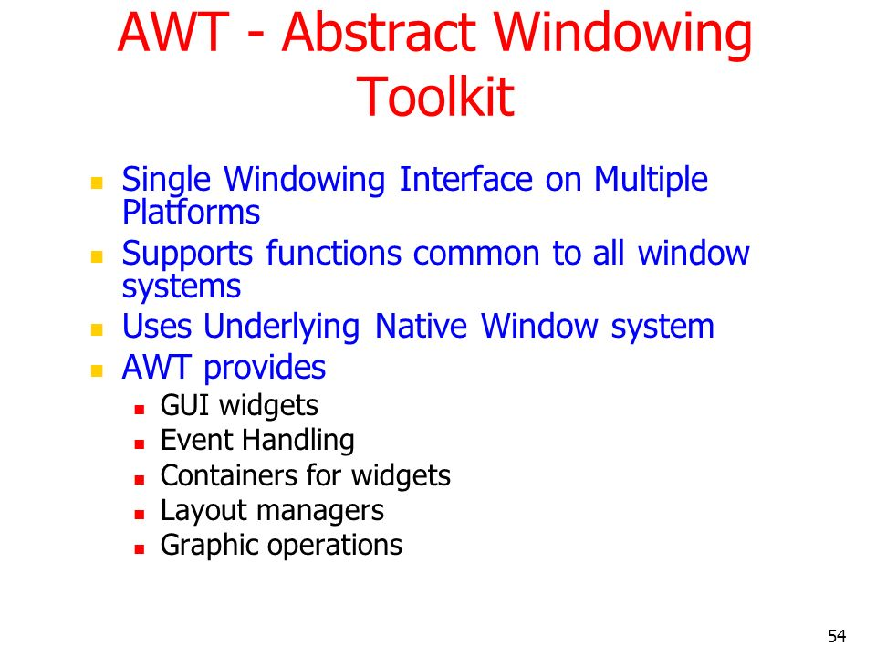 AWT - Abstract Windowing Toolkit