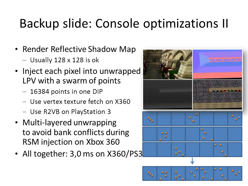 Backup slide: Console optimizations II