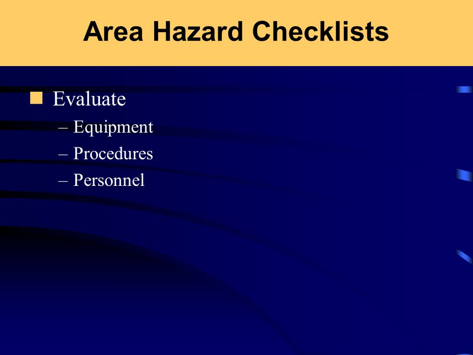 Area Hazard Checklists