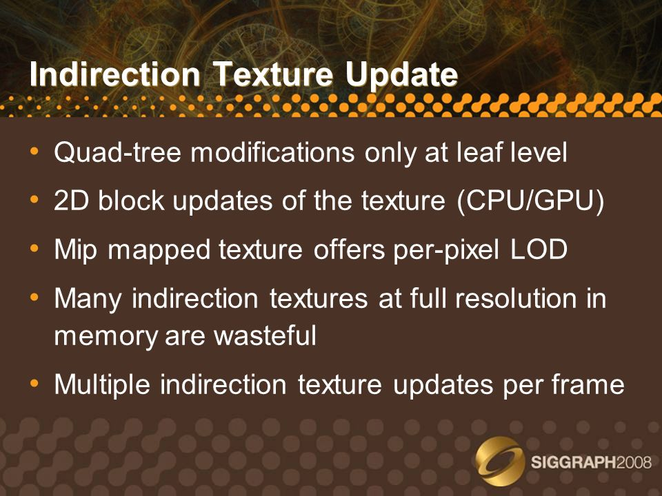 Indirection Texture Update
