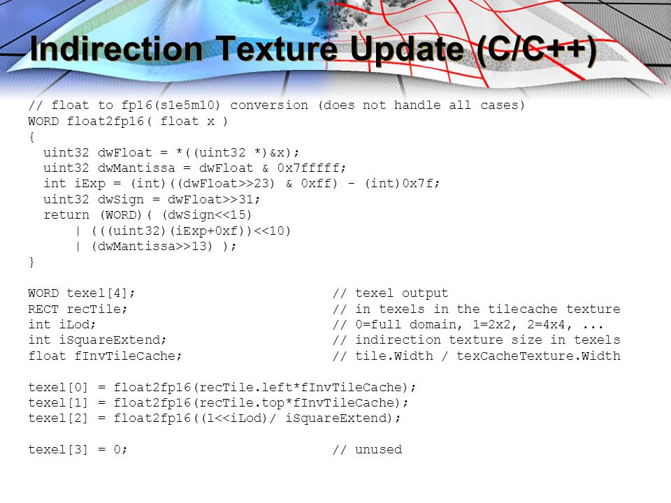 Indirection Texture Update (C/C++)