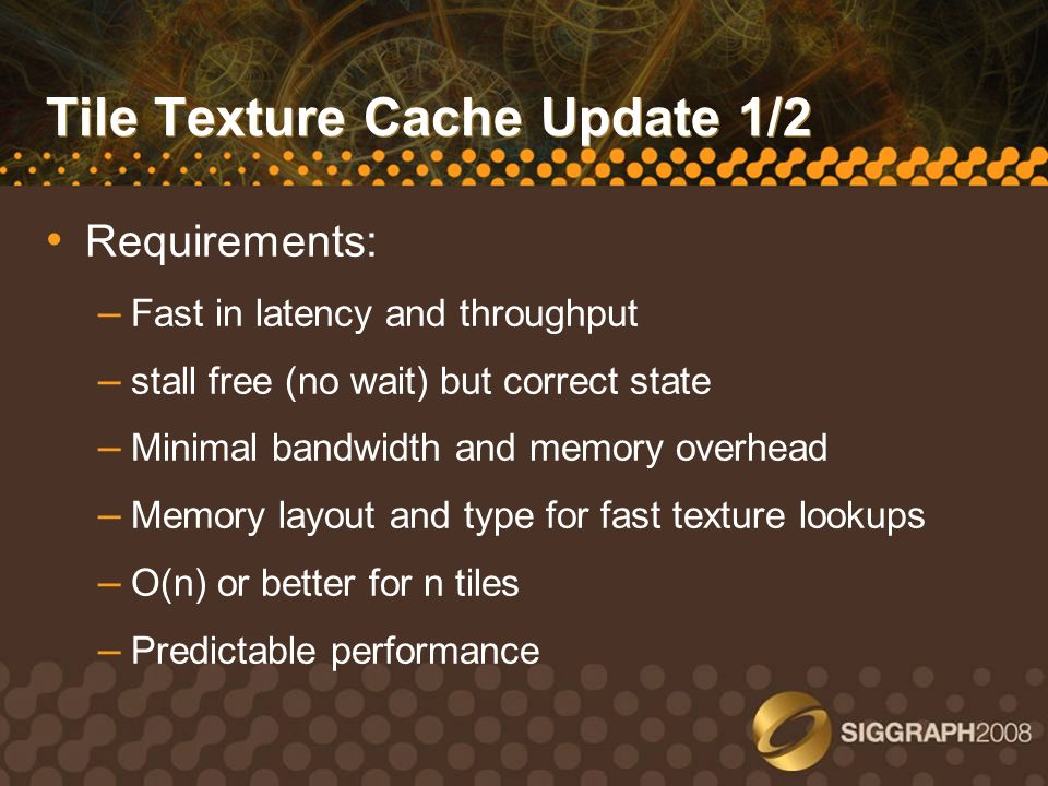 Tile Texture Cache Update 1/2