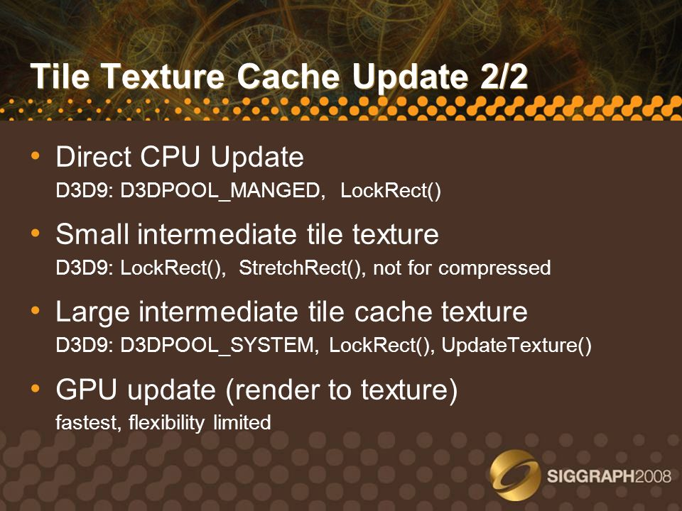 Tile Texture Cache Update 2/2