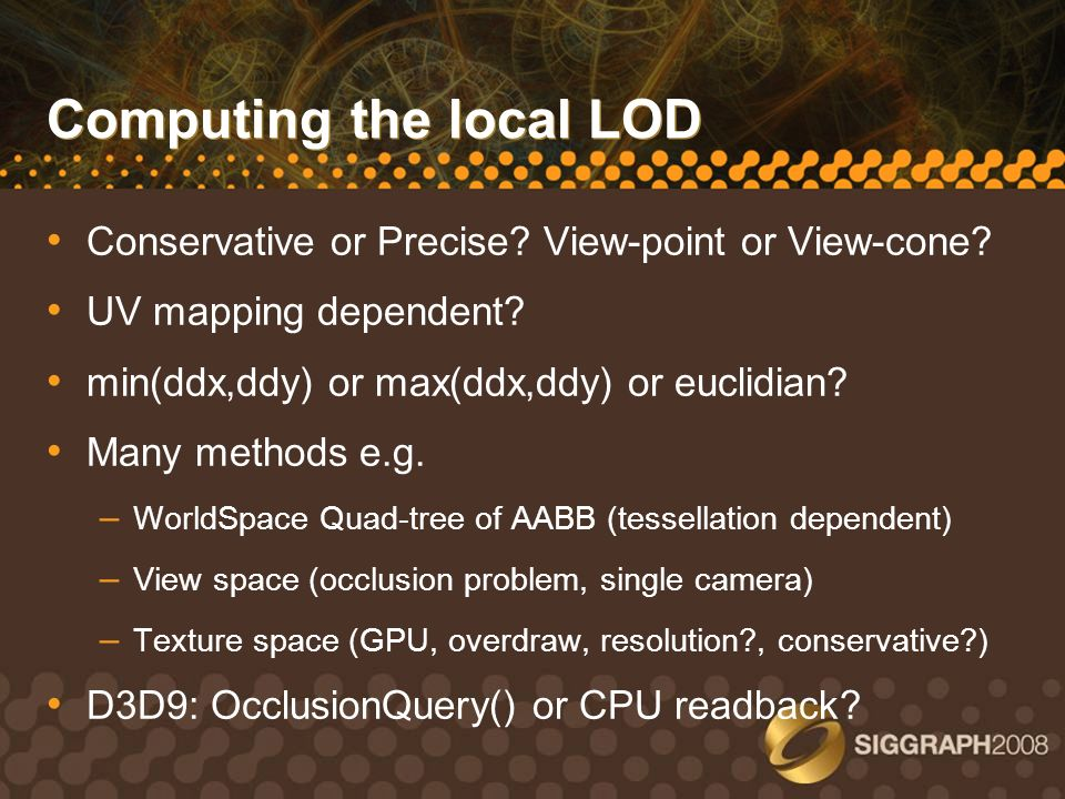 Computing the local LOD