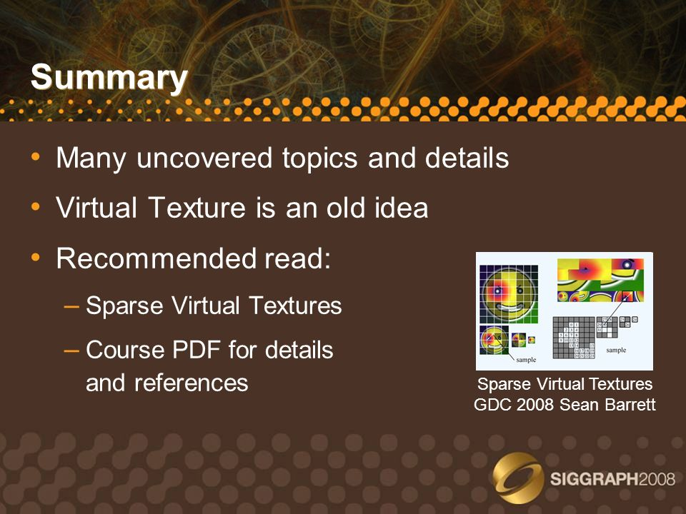 Sparse Virtual Textures GDC 2008 Sean Barrett