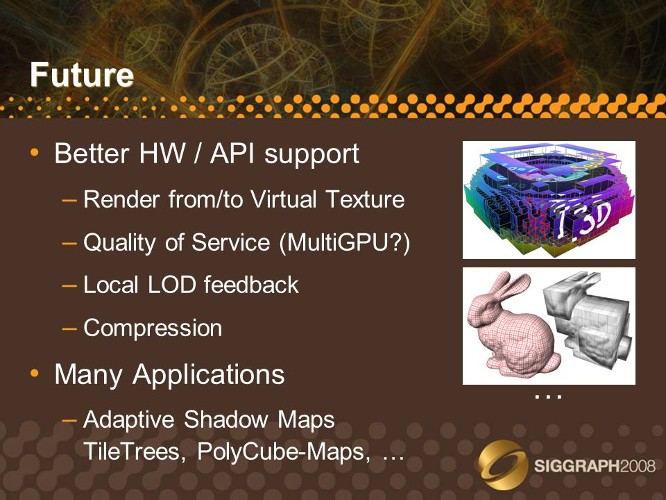 Future … Better HW / API support Many Applications
