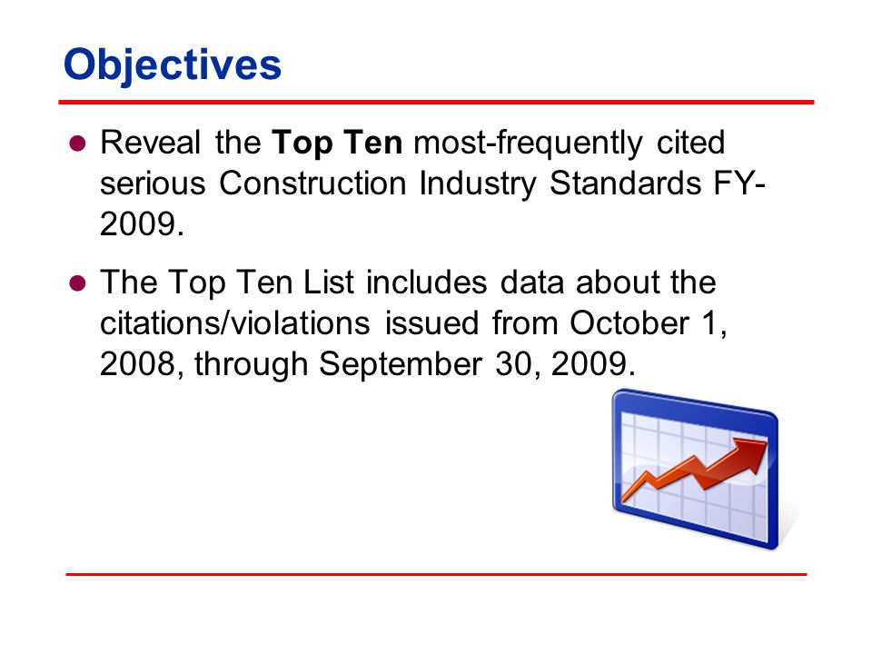Objectives Reveal the Top Ten most-frequently cited serious Construction Industry Standards FY- 2009.