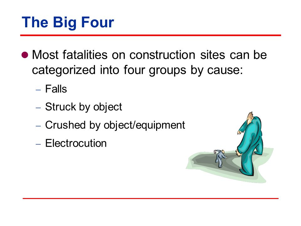 The Big Four Most fatalities on construction sites can be categorized into four groups by cause: Falls.