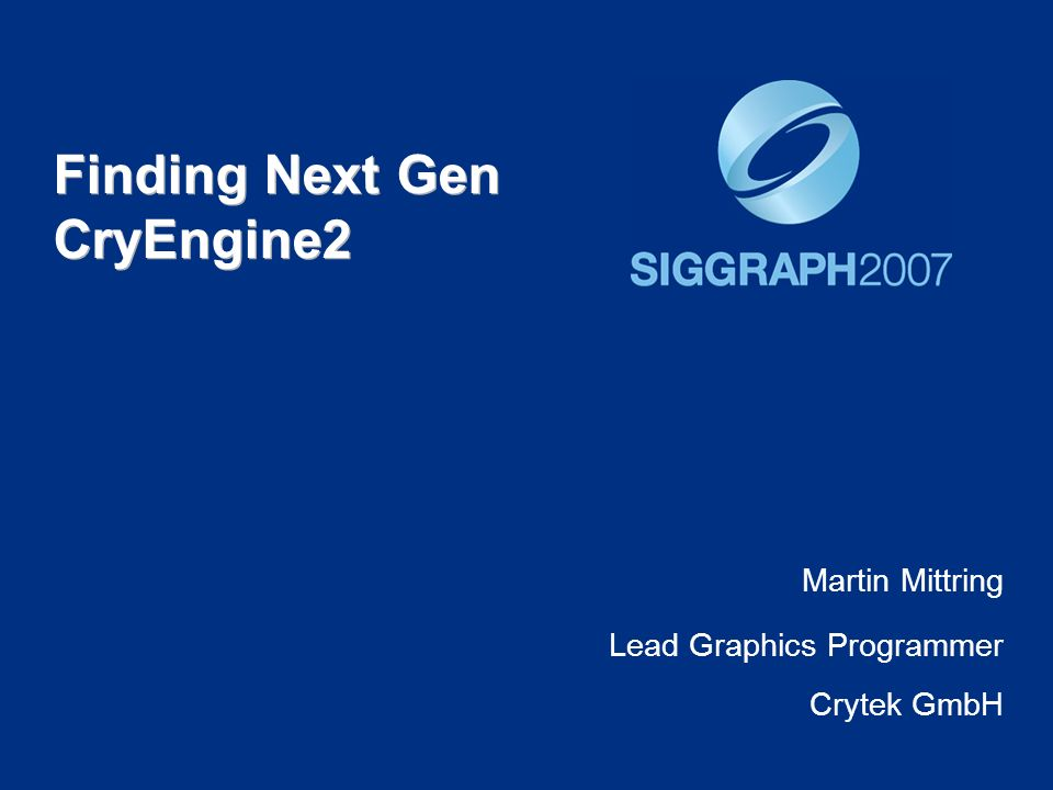 Finding Next Gen CryEngine2