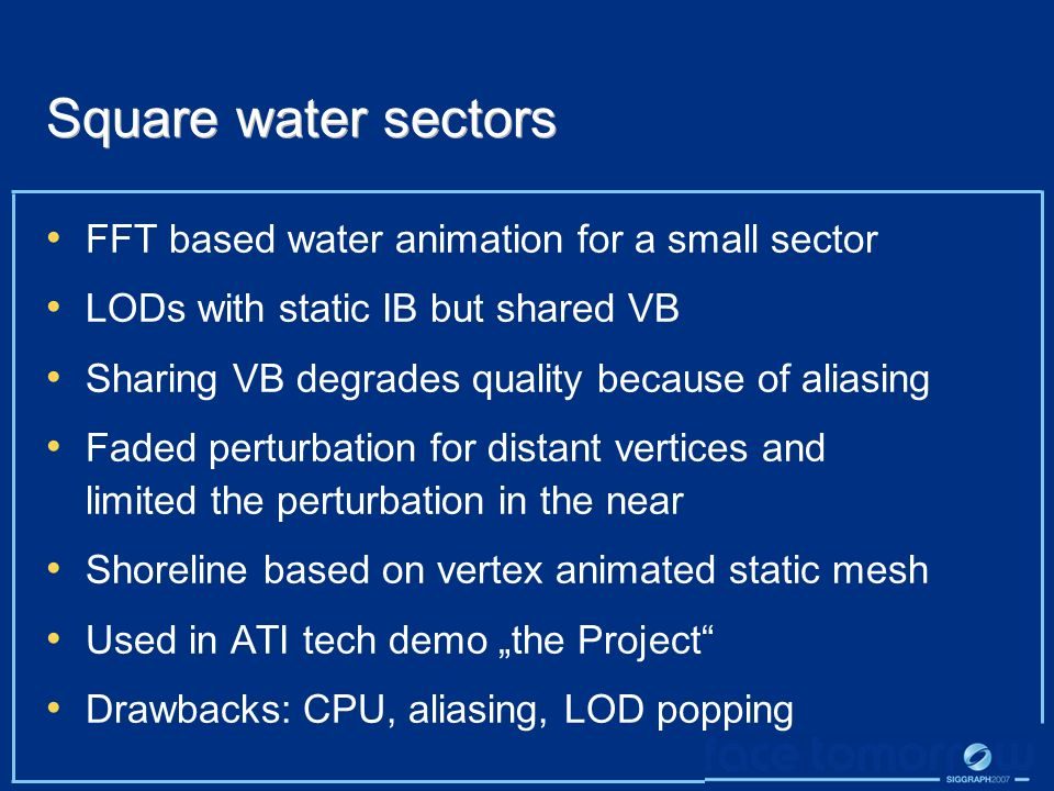 Square water sectors FFT based water animation for a small sector