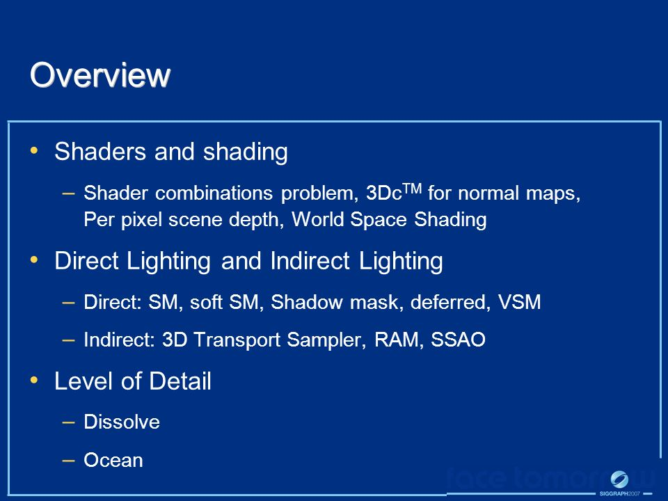 Overview Shaders and shading Direct Lighting and Indirect Lighting
