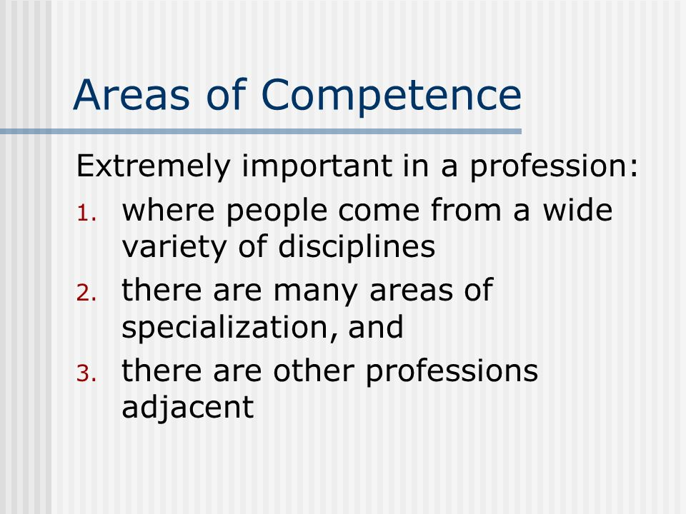 Areas of Competence Extremely important in a profession: