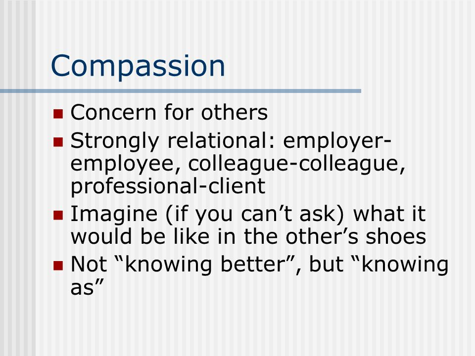 Compassion Concern for others