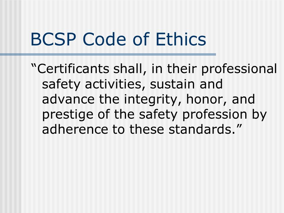 BCSP Code of Ethics
