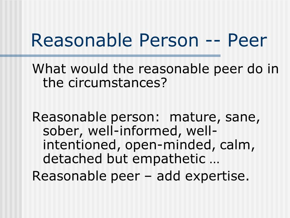 Reasonable Person -- Peer