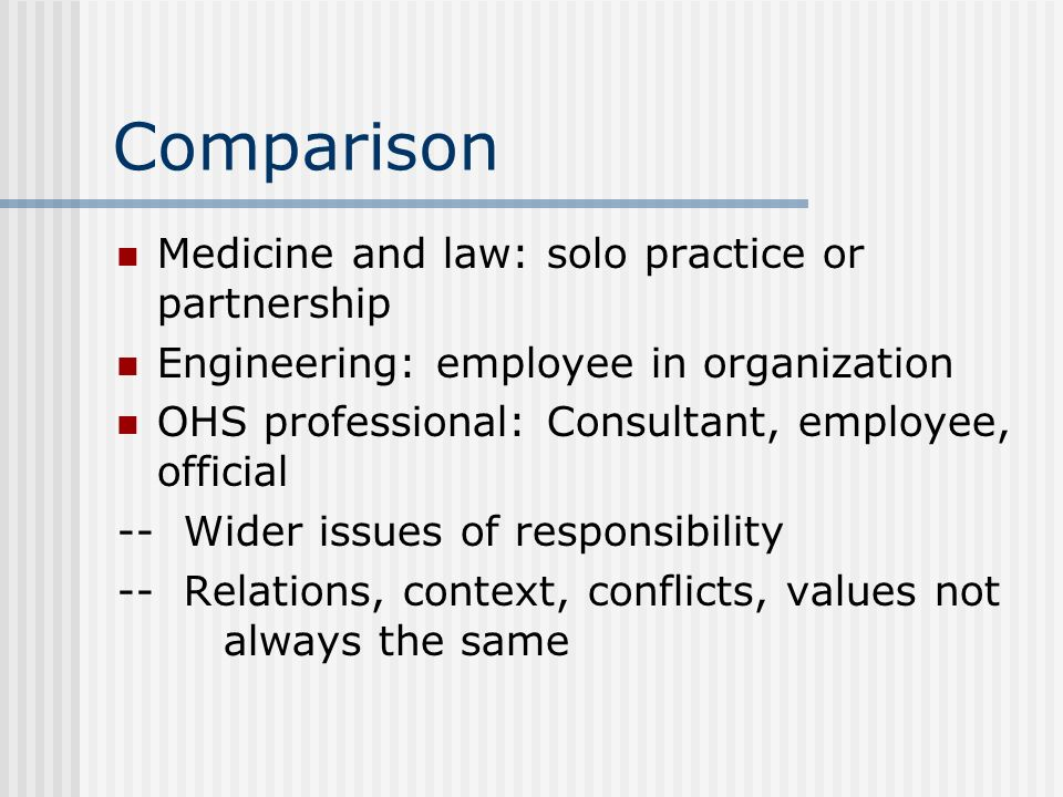 Comparison Medicine and law: solo practice or partnership